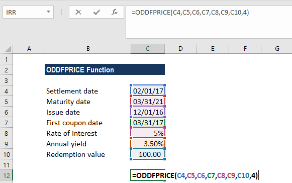 ODDFPRICE Function - Example 1