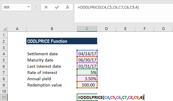 ODDLPRICE Function - Example 1