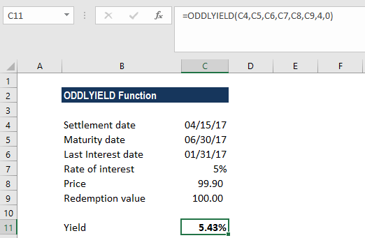 ODDLYIELD Function - Example 1a