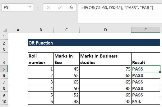 OR Function - Example 2b