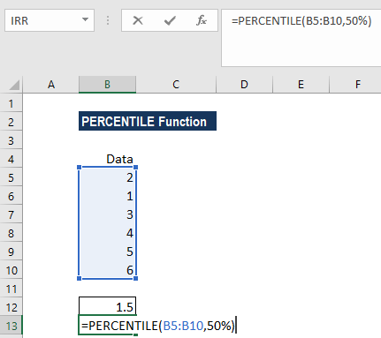 PERCENTILE Function - Example 1B