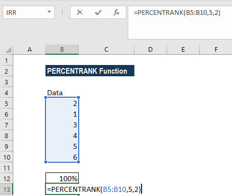 PERCENTRANK Function - Example 1b