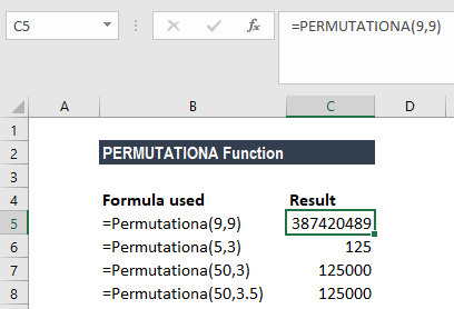 PERMUTATIONA Function