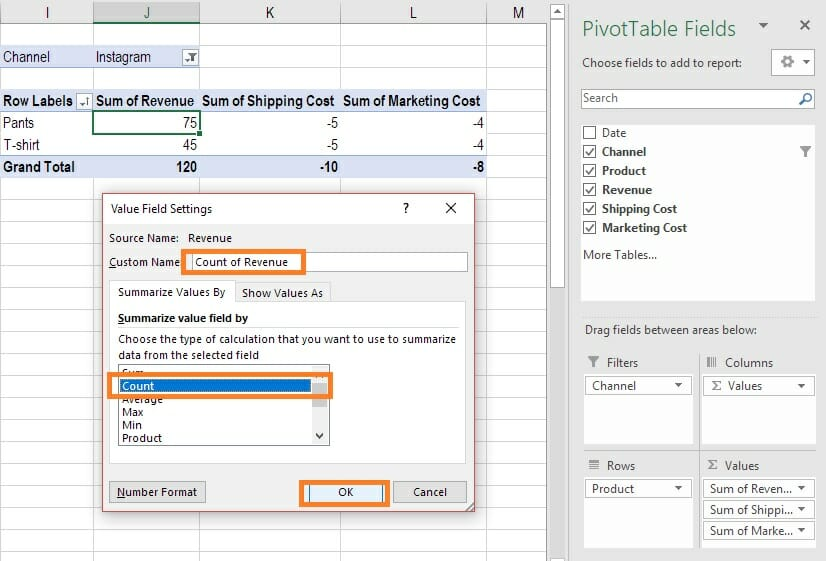 Excel guide- How to edit the data fields