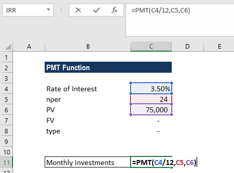 PMT Function - Example 1a