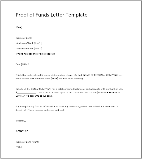 Proof Of Funds Pof Definition Example Pof Letter