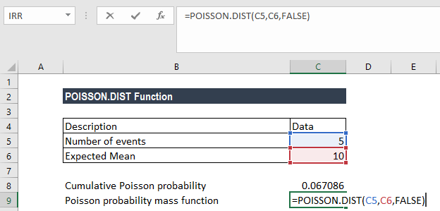 POISSON.DIST Function - Example 1a
