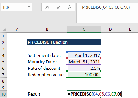 PRICEDISC Function