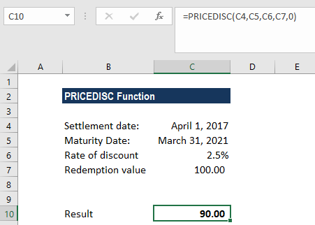 PRICEDISC Function - Example