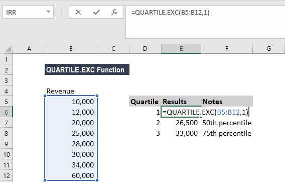 QUARTILE.EXC Function - Example 1a