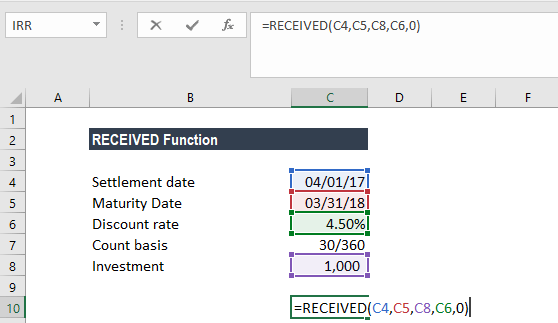 RECEIVED Function - Example 1