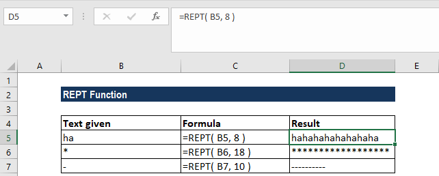 REPT Function - Example 1