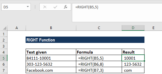 RIGHT Function - Example 1