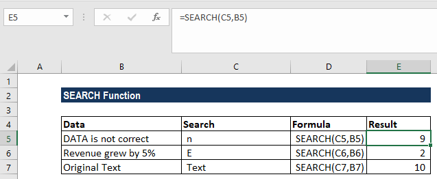 SEARCH Function - Example