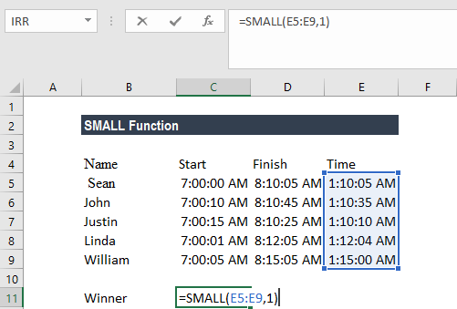 SMALL Function - Example 1