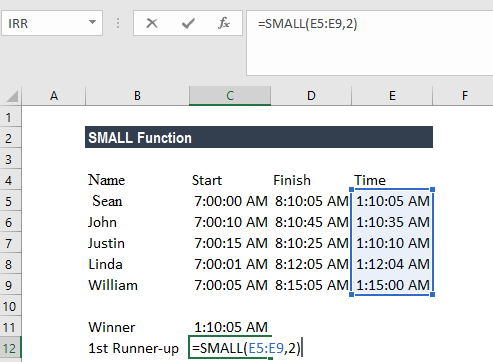 SMALL Function - Example 1a