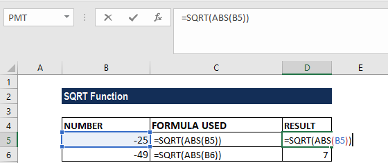 SQRT Function - Example 2a
