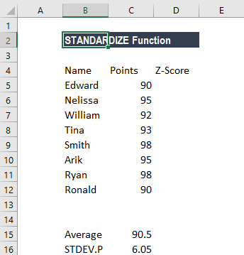 standardize function z score formula examples how to use