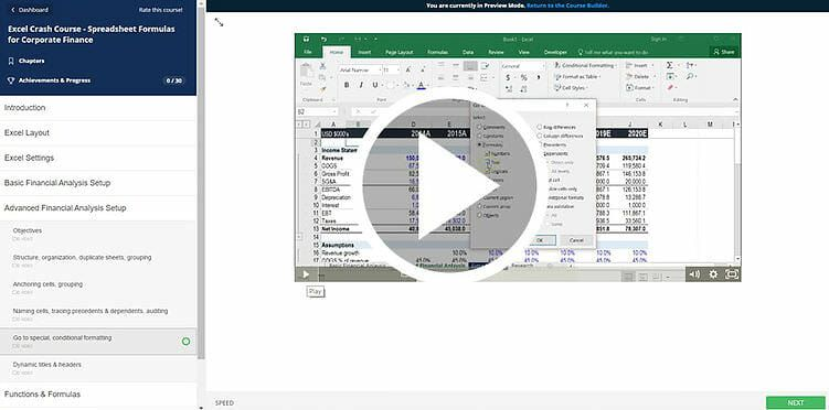 Excel INDIRECT function in a free course