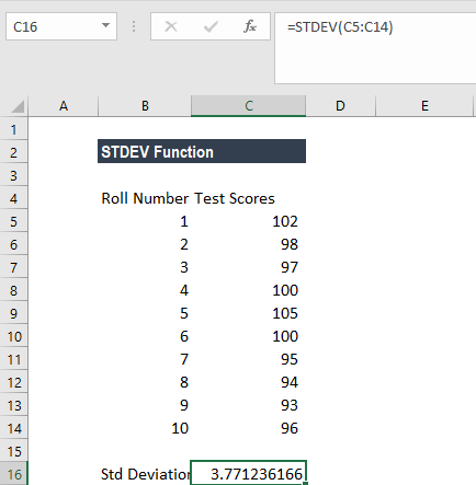 STDEV Function - Formula, Examples, How to Use Stdev in Excel