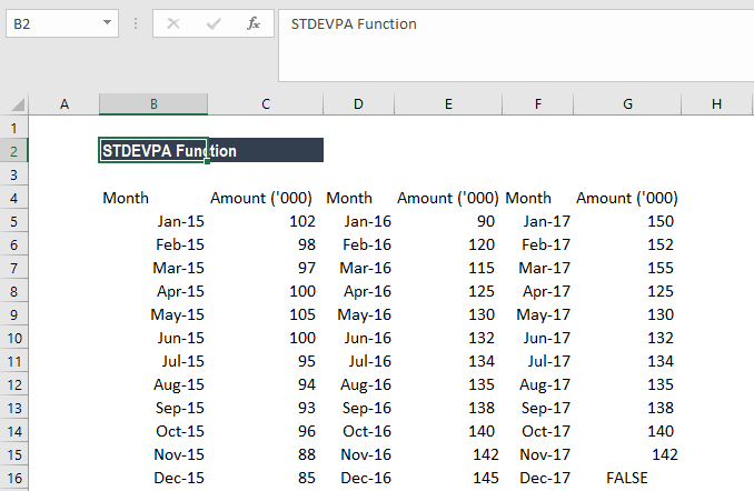excel how to get standard deviation with percent and returns