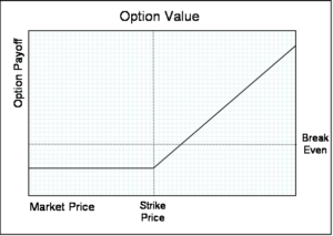 Strike Price example on an Option chart