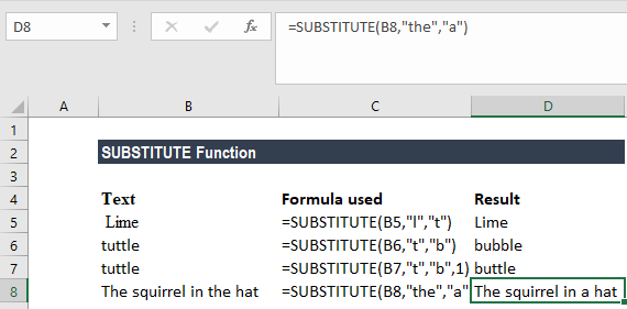 SUBSTITUTE Function - Example 1a
