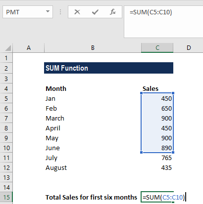 SUM Function - Example 1