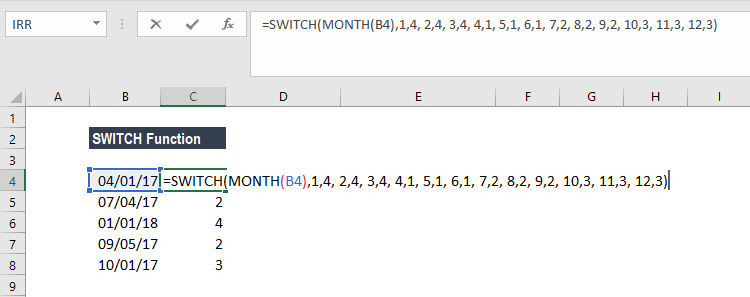 SWITCH Function - Example 3