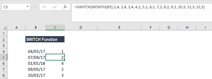 SWITCH Function - Example 3a