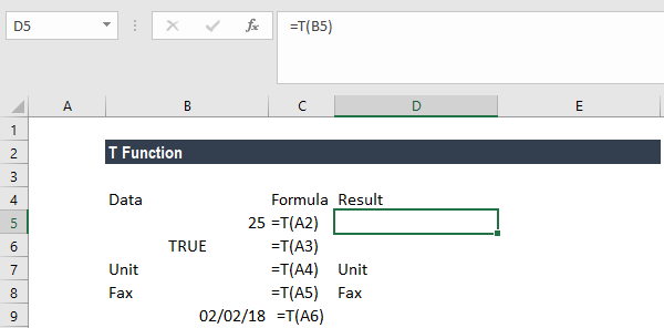 T Function - Example 1