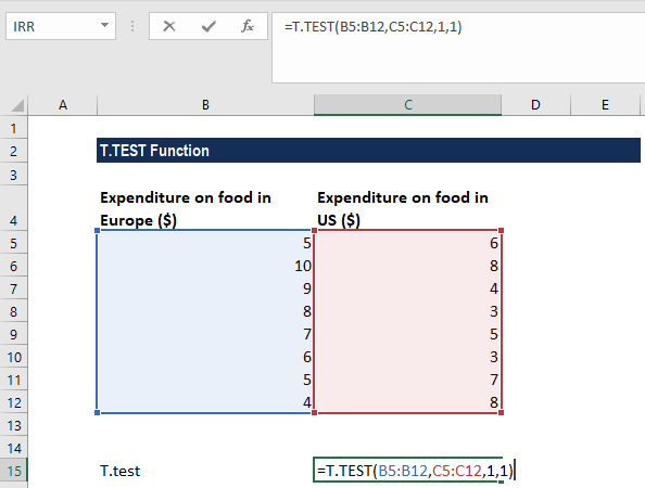 T-TEST Function - Example 1