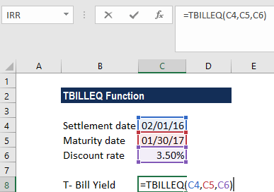 TBILLEQ Function - Example 1