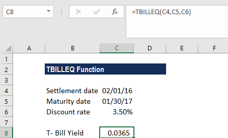 TBILLEQ Function - Example 1a