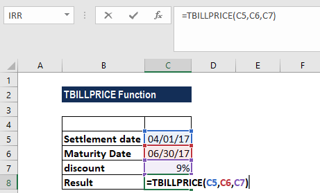 TBILLPRICE Function