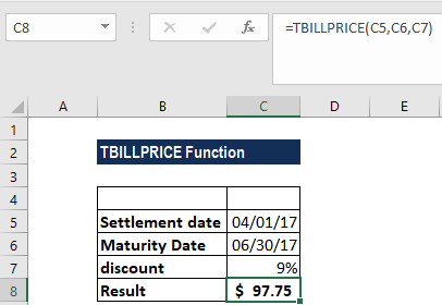 TBILLPRICE Function - Example