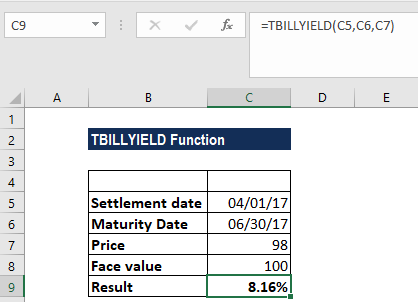 TBILLYIELD Function - Example
