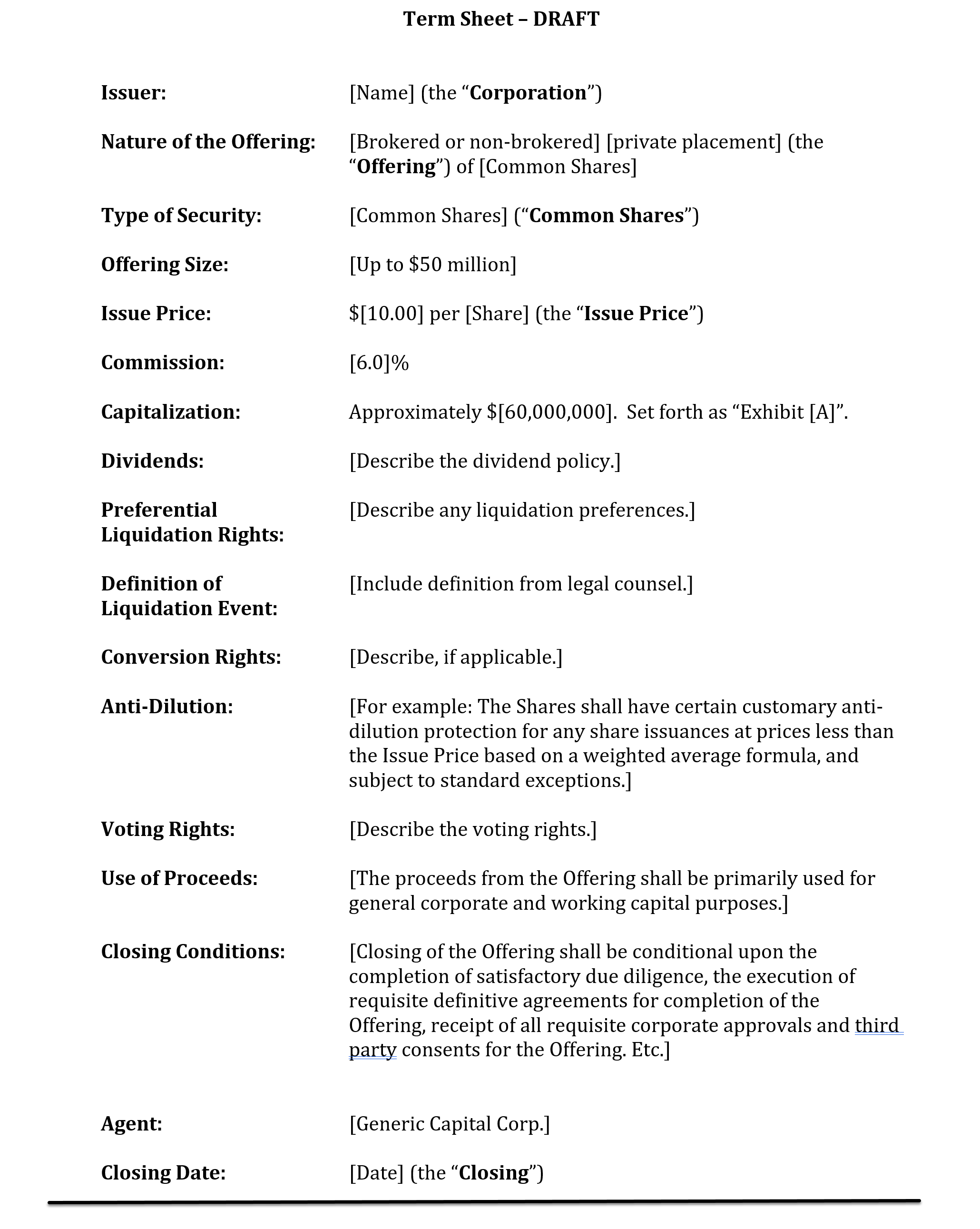 investment banking term sheet