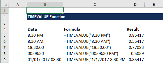 TIMEVALUE Function - Example 1
