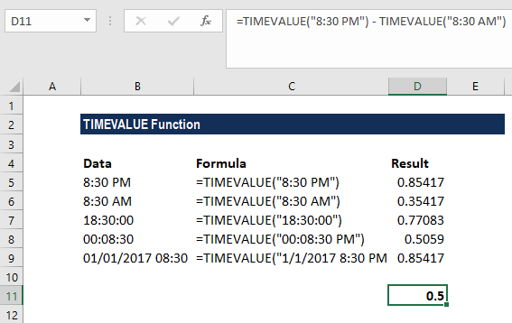 TIMEVALUE Function - Example 1a