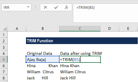 TRIM Function - Example 1