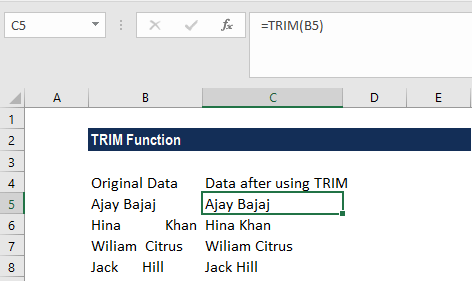TRIM Function - Example 1a