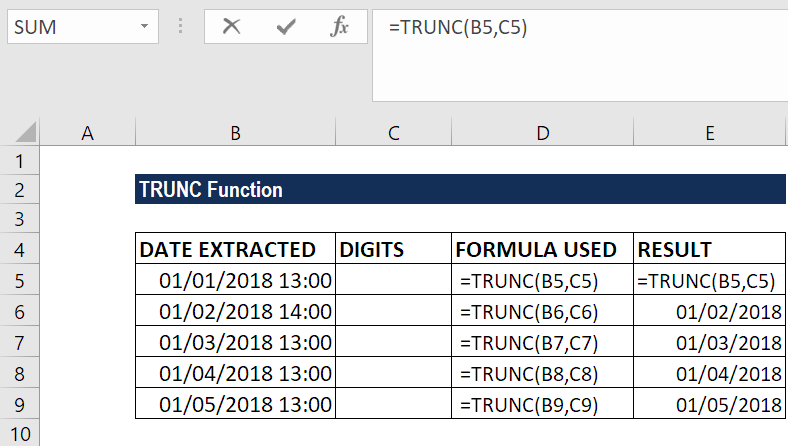 TRUNC Function - Example 2a