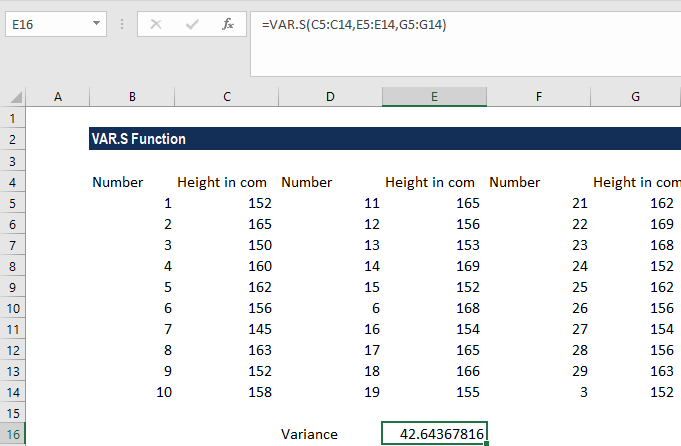 VAR.S Function - Example 1a