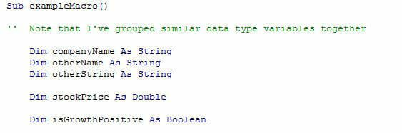VBA variables screenshot