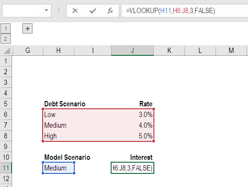 vlookup financial modeling example