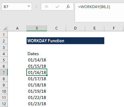 WORKDAY Function - Example 1