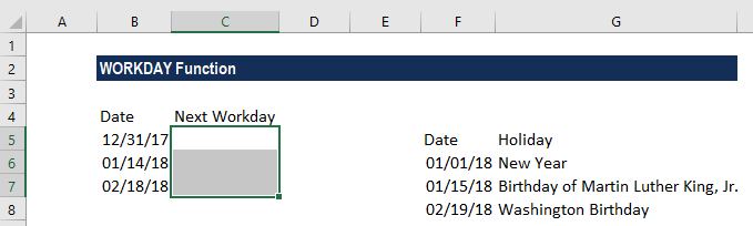 WORKDAY Function - Example 2