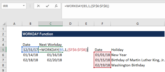 WORKDAY Function - Example 2a
