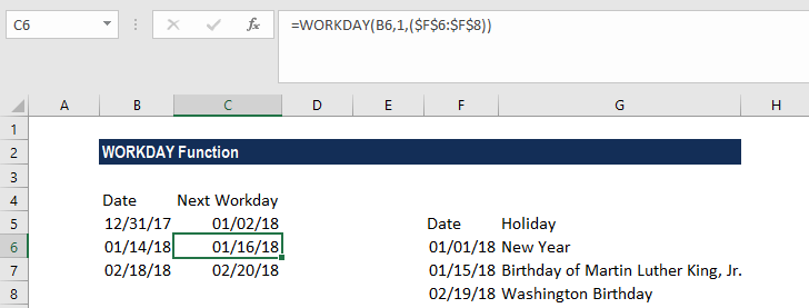 WORKDAY Function - Example 2b